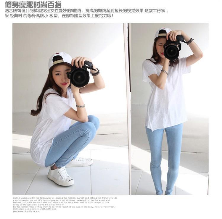 19 thin waist jeans nine Korean female grey legging feet pencil pants 9 black women jeans 9