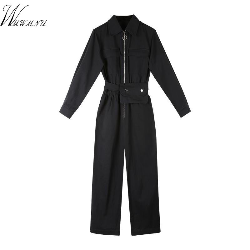 Women Black Turn Down Collar Zipper Long Sleeve Rompers Tooling High Waist Loose Boyfriend Style Sash Jumpsuits With Waist Packs