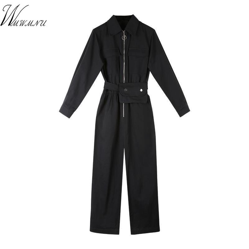 Women Black Turn Down Collar Zipper Long Sleeve Rompers Tooling High Waist Loose Boyfriend Style Sash Jumpsuits With Waist Packs