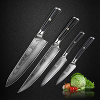 KEEMAKE 8'' Chef 5'' Utility 3.5'' Paring Knife Damascus Japanese VG10 Core Steel G10 Handle Meat Slicing Cut Kitchen Knives Set