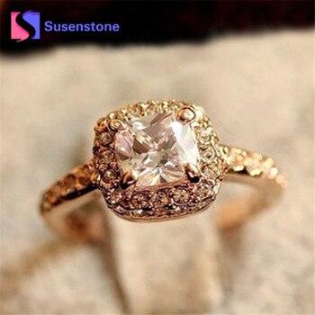 Fashion Korean Gold color Square Ring Luxury Elegance New Wedding Ring Princess Hot Sales