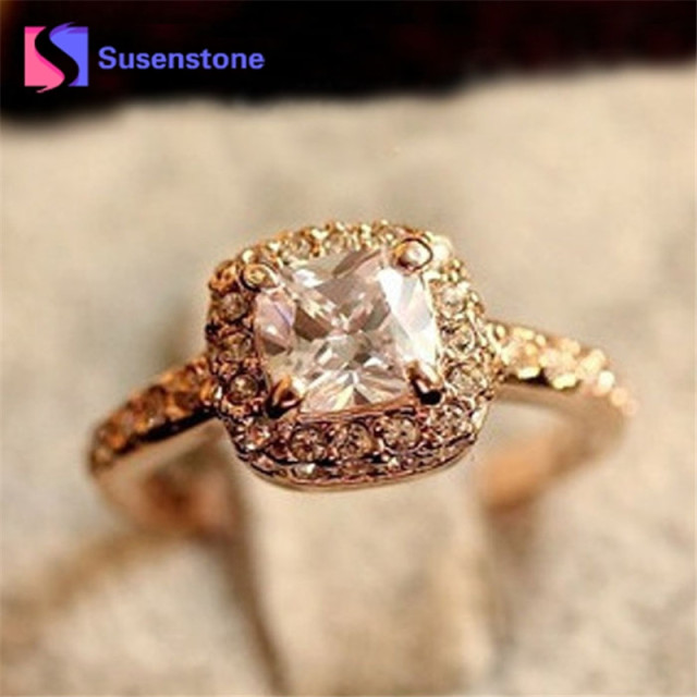 Fashion Korean Gold color Square Ring Luxury Elegance New Wedding Ring Princess
