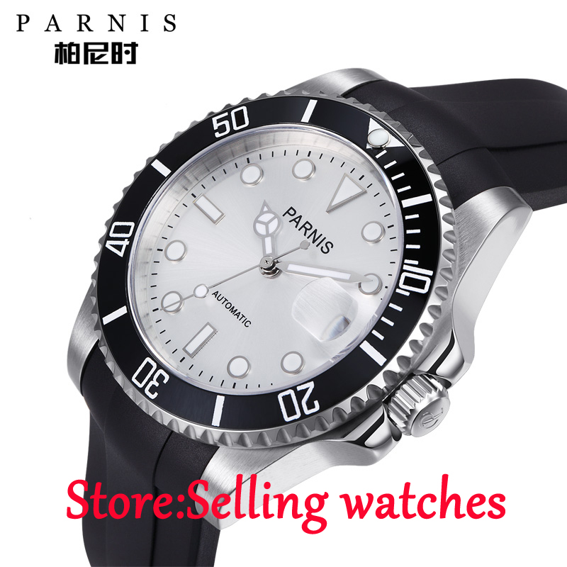 40mm Parnis white dial Sapphire glass 21 jewel Miyota automatic mens watch 40mm parnis white dial automatic miyota movement sapphire glass mens watch