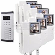 """DIYSECUR 4.3 """"Monitor HD Apartamento Video de La Puerta Sistema de Teléfono Video Del Timbre Del Intercomunicador 700 Tecla Táctil de la Cámara del IR para 6 Familias"""