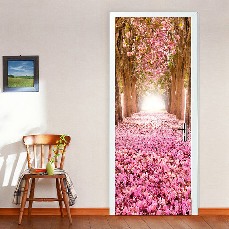 Romantic Cherry Blossom Avenue Photo Wall Mural Door Sticker Wallpaper 3D Living Room Bedroom Wedding House PVC Papel De Parede пуф dreambag круг cherry