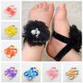 Free shipping Pearls & crystal center Chiffon flowers Sandals baby Barefoot Sandals children's shoes flower