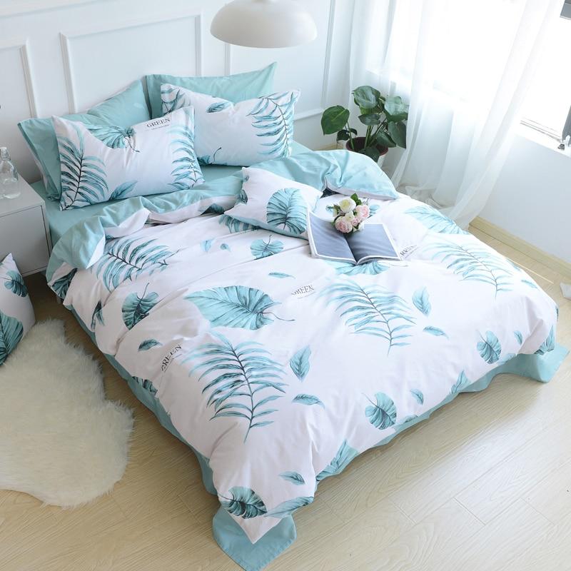 ΞPapa & Mima algodón Ropa de cama de estilo nórdico verde hojas ...