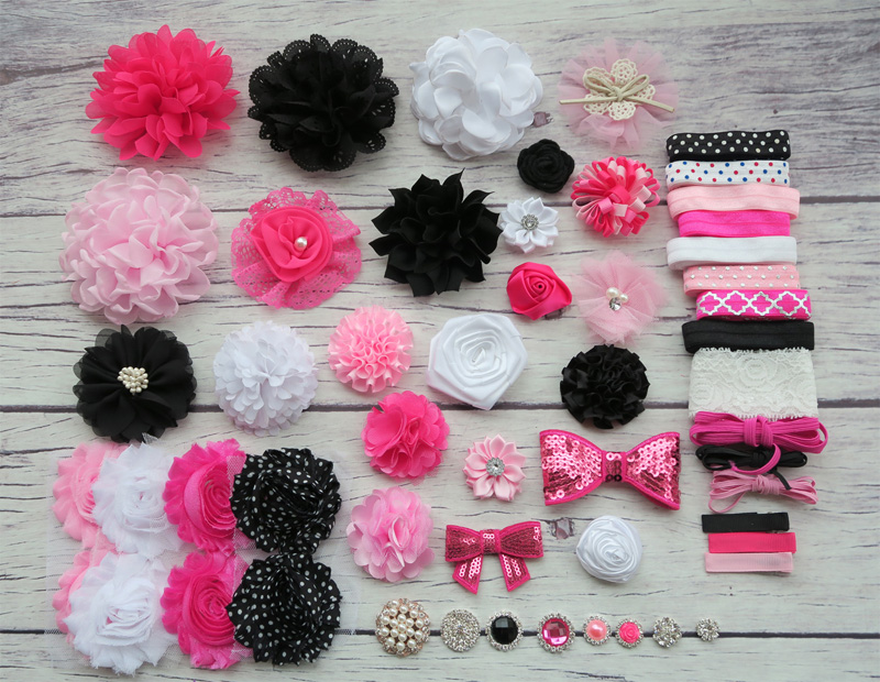 Shower Headband Station Kit,DIY Headband Making Kit,First Birthday Party Headband Kit,Hair Bow Kit,black,white,pink,hot S49 цена и фото