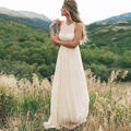 Vestidos de Noiva Simple Cheap Boho Wedding Dresses 2016 Chiffon Summer Brida Gown Floor Length Off the Shoulder Wedding Gowns