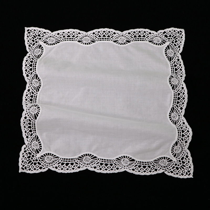White Premium Cotton Lace Handkerchiefs 120 Piecespack Blank