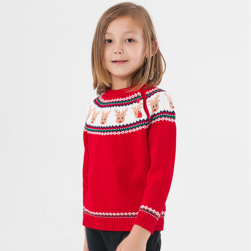 Christmas Sweater for Girls Pullover Kids Sweater with Deer Childrens Elk Winter Warm Jacket for Boys fresh style stand collar elk print fleeced pullover sweatshirt for women