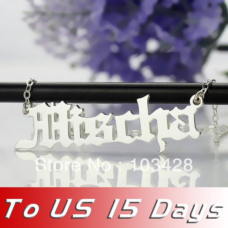 5827b1d2c39a Mischa Barton estilo plata nombre collar placa de identificación  personalizada estilo colgante antiguo inglés Nombre joyería
