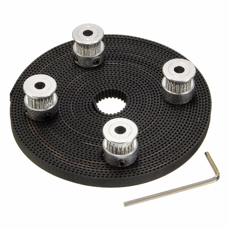 4X GT2 Timing Pulley 20 Teeth + 5M GT2 Belt Width 6mm + 8 x Screws + 1 x Wrench for RepRap 3D Printer Parts