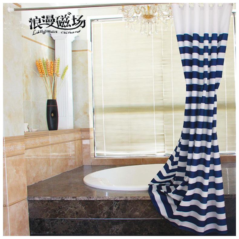 € 11.58 25% de réduction|Romantique bleu blanc bleu marine Style Upse salle  de bain imperméable Mouldproof Polyester accrocher ombre rideau salle ...