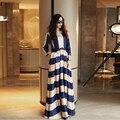 ВЫСОКОЕ КАЧЕСТВО Новая Мода 2016 женщин Классический Элегантный Полосатый Распечатать Повседневная Макси Платье Плюс размер Длинное Платье