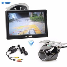 DIYKIT Wireless 5 Inch TFT LCD Display Car Monitor with Waterproof Night Vision Security Metal Car Rear View Camera