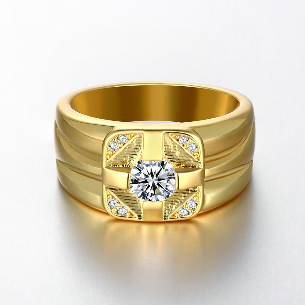 CZ Diamond Micro Pave Drop Ring Man 18K Zircon Mens Rose Gold ...