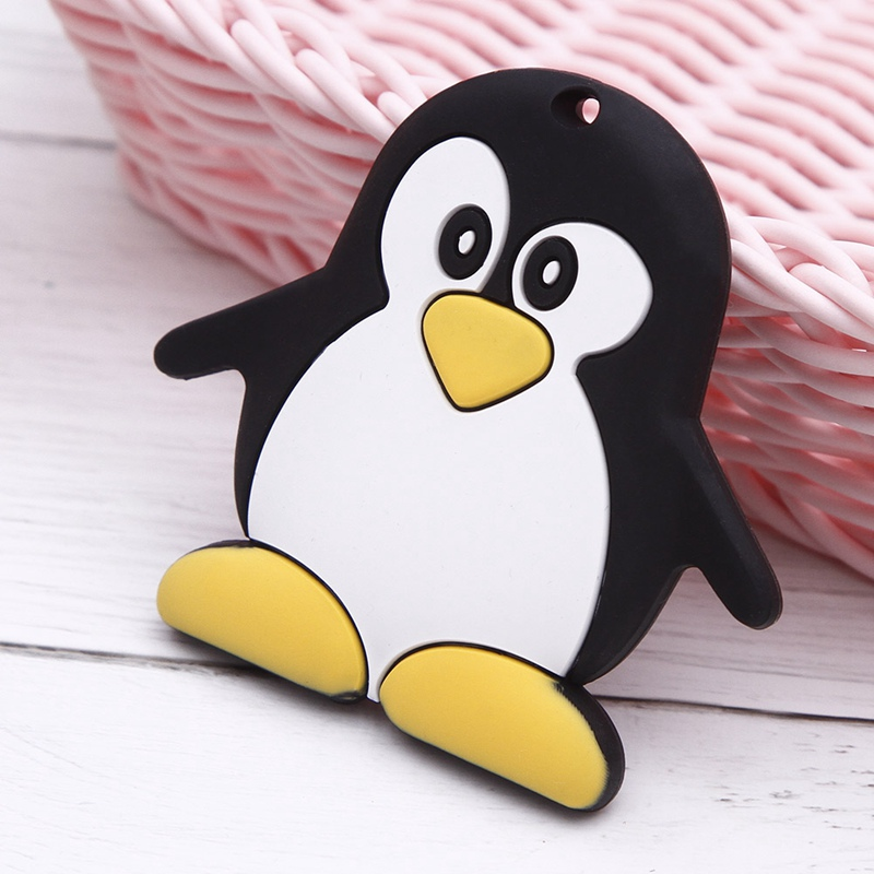 Silicone Teething Penguin Pacifier Clip Baby Carrier Toys Short Chain Pendant Silicone Beads Safety Holder Accessory