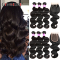 Brazilian Body Wave With Closure 3 Bundles Unprocessed Human Hair With Closure Grade 7A Brazilian Virgin Hair With Closure
