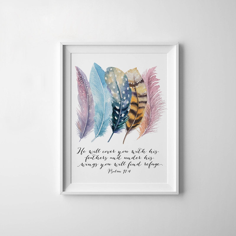 Bible Verse Psalm 91:4 Poster Canvas Art Prints , Birds Feathers Scripture Christian Quotes Canvas Painting Wall Art Home Decor