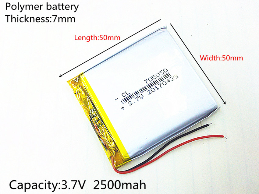 3.7V 2500mAh 705050 Lithium Polymer LiPo Rechargeable Battery ion cells For Mp3 Mp4 Mp5 DIY PAD DVD E-book bluetooth headset 3 7v 2500mah lithium polymer lipo rechargeable battery cells power for pad gps psp vedio game e book tablet pc power bank 405080