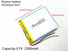 3.7V 2500mAh 705050 Lithium Polymer LiPo Rechargeable Battery ion cells For Mp3 Mp4 Mp5 DIY PAD DVD E-book bluetooth headset