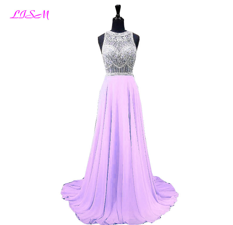 Crystal Beaded Chiffon Prom Dress Long Sleeveless Junior Girls Prom Dresses Elegant Sweep Train Evening Gowns vestidos de gala