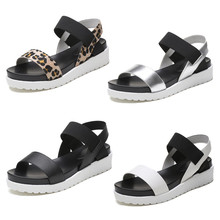 Women Sandals 2019 Platform Sandals Wedges Shoes For Women Heels Sandalias Mujer Summer Shoes Leather Wedge Heels Casual P25