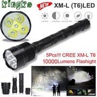 High Quality Tactical 10000 Lumen 5 X XML T6 LED Flashlight Torch Light 5 Modes 18650