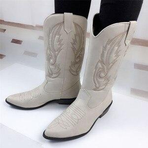 Image 2 - Top.Damet batı botları kadın sonbahar kış üzerinde kayma düz renk çizmeler sivri burun kovboy Cowgirl motosiklet botları kadın