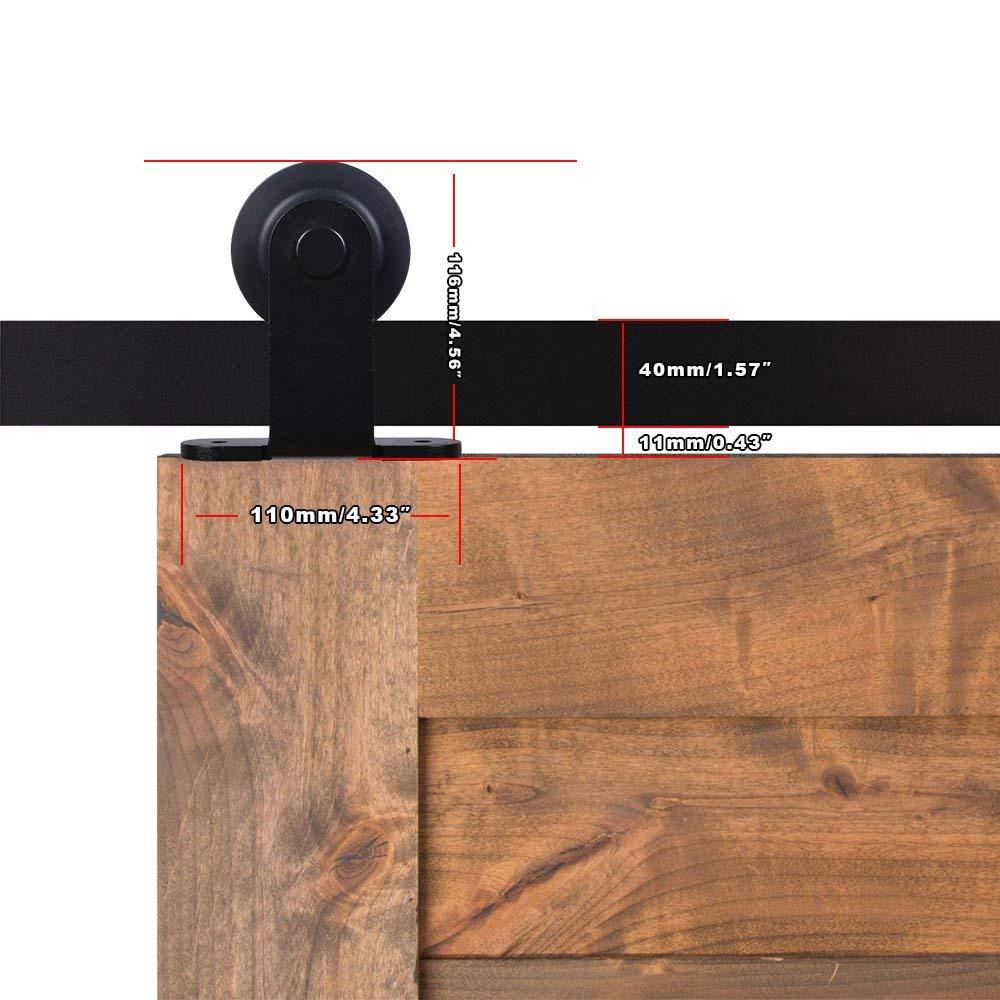 LWZH Sliding Wood Door Bypass Sliding Barn Door Hardware Kit Black Steel T-Shaped Track Rollers for Interior Double Door