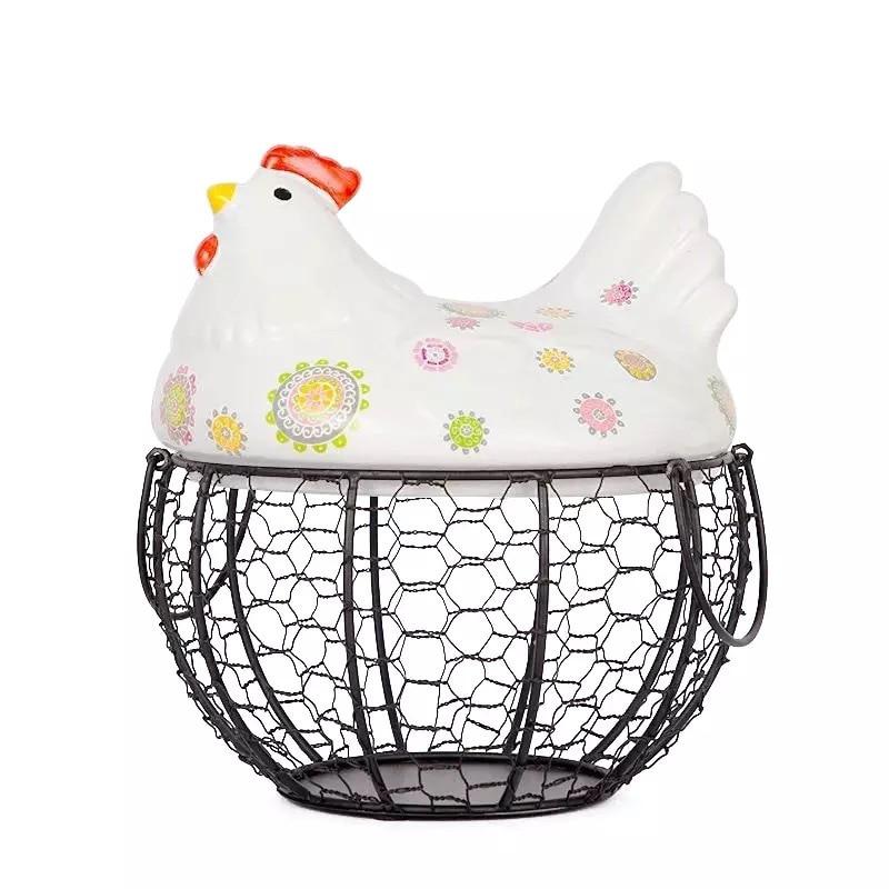 Ceramic egg basket fruit basket garlic potato sundries blue ceramic decoration hen storage iron basket  fabric baskets