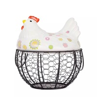 Ceramic egg basket fruit basket garlic potato sundries blue ceramic decoration hen storage iron basket fabric baskets