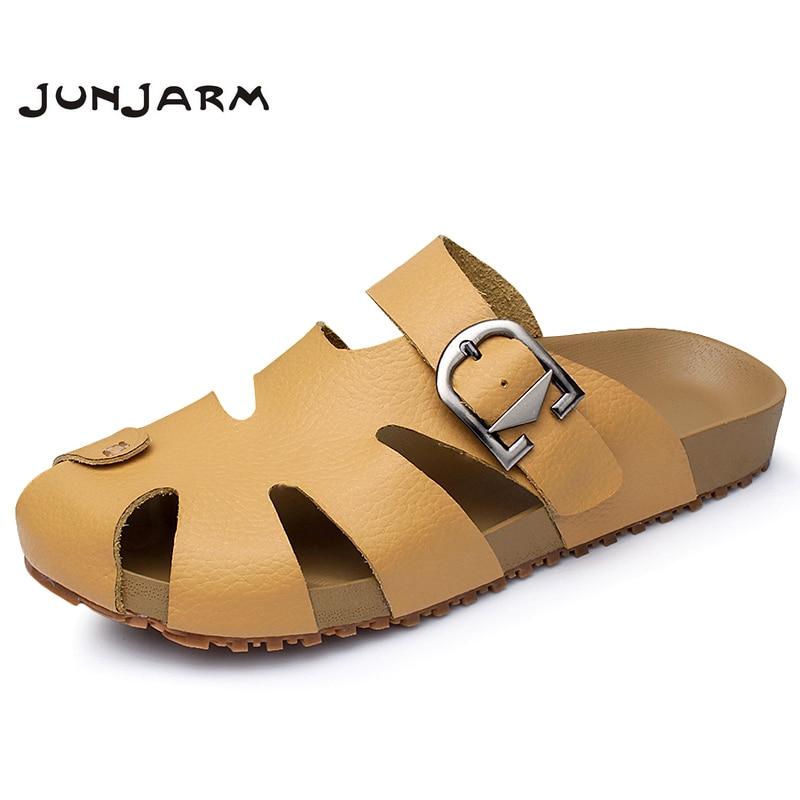 JUNJARM 2018 Mens Sandals Split Leather Summer Men Slippers Shoes Outdoor Sandals For Men Handmade New Beach Men Casual Shoes