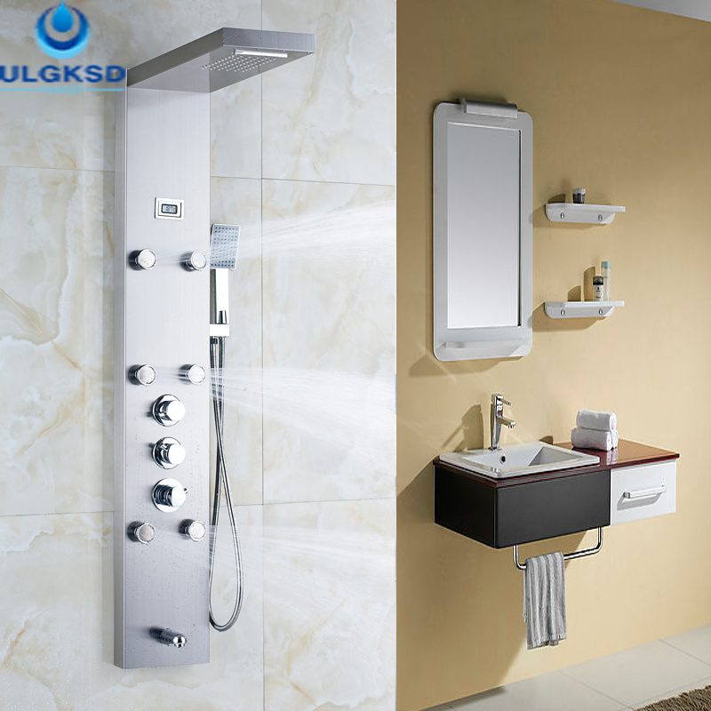 все цены на Ulgksd Thermostatic Shower Faucet Jets Bathroom Waterfall Rain Shower Column 6 pcs Massage Tub FaucetFilter Hand Shower Panel