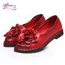 Модная мягкая подошва обувь ручной работы в народном стиле Стиль Женские туфли-лодочки повседневная обувь натуральная кожа женская обувь для матери модные лоферы