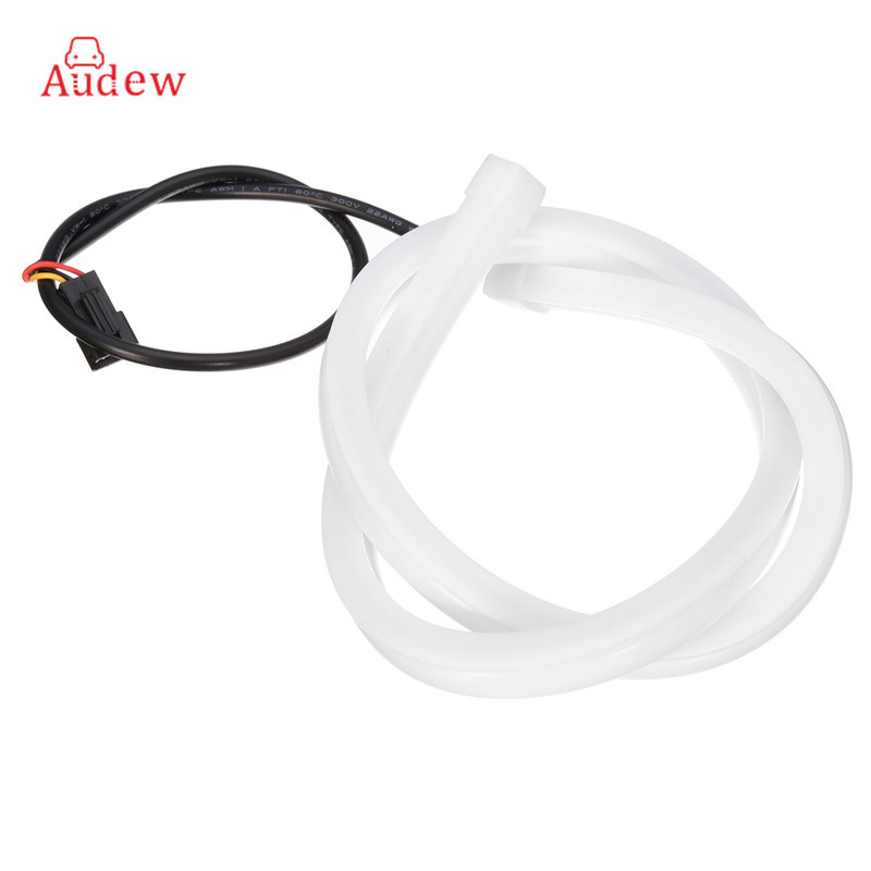 2Pcs LED  Universal Daytime Running Light Tube Guide Soft and Flexible Car LED Strip DRL White and Yellow turn signal light jurus 30cm flexible led tube strip white yellow soft daytime running light drl headlamp car styling parking lamps promotion