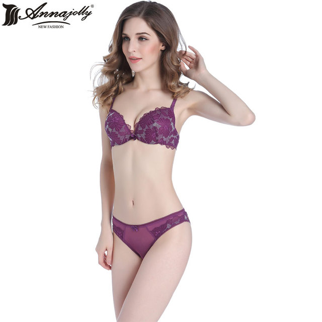 2ef3b1b3b46 Annajolly Women Bra Sets Sexy Push Up Top Bra Lace Panties Embroidery  Floral Brassiere Lingerie Underwear New Fashion U1117