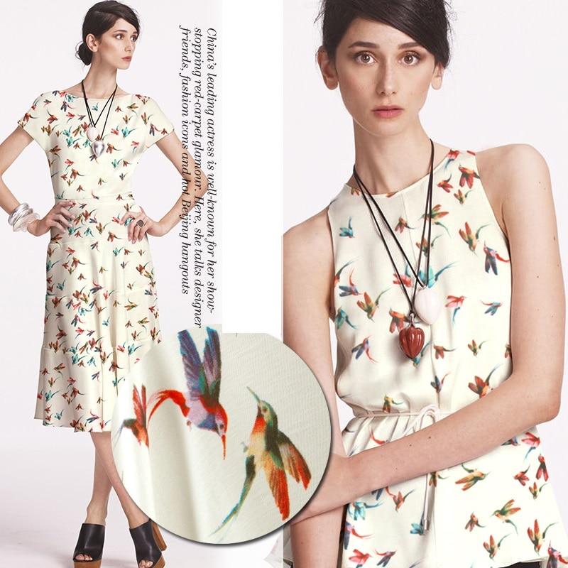 Fashion main push wing fresh and popular color bird digital printing Satin imitation silk fabric