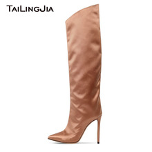 Satin Comfy Women Slip On Boots Pointed Toe High Heel Fashion Knee Boots Handmade Luxury Pink Silk Ladies Shoes Brand Wholesale ladies high quality china blue chinese women slip on luxury brand shoes bow foldable pointed toe flats european fashion drop