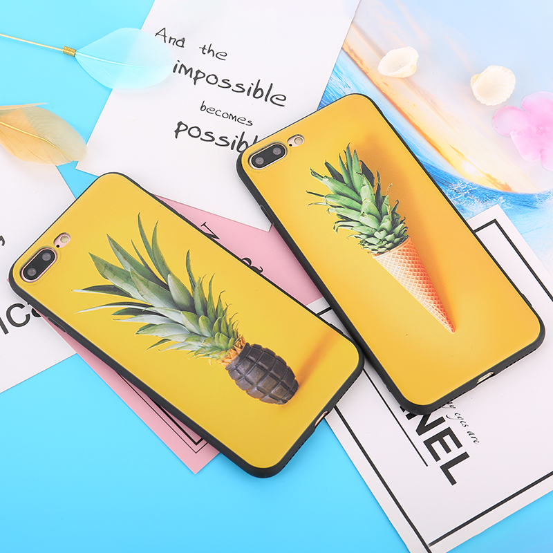 3D Pineapple Icecream Patterned Case For iPhone X 6 6S Plus Cute Cartoon Yellow TPU Silicone Back Cover for iPhone 7 8 Plus Case