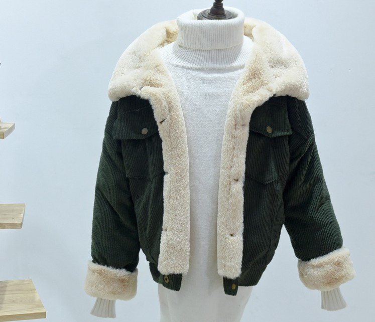 2018 Winter Loose Women Corduroy Jacket New Fashion Thick Short Coat Casual Ladies Cute Warm Lambswool Outerwear