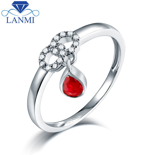 Fine Jewelry Pear Natural Ruby Gold Ring14k White Gold Diamond