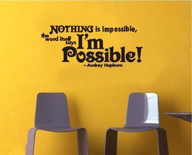English Motto wall decals Nothing is impossible famous movie star ...