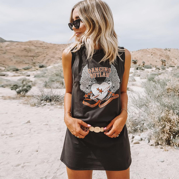 KHALEE YOSE Black Mini Tshirt Dress Cotton Print Summer Sleeveless T Shirt Dresses Boho Chic Gypsy Hippie Short Dress Womens