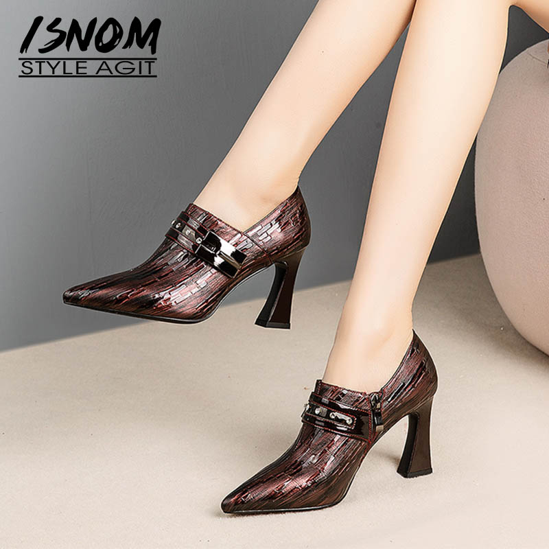 ISNOM Emboss Cow Leather Pumps Women Metal Zip Pumps Office Shoes Female Fashion Pointed Toe Office Shoes Women Autumn 2019 New