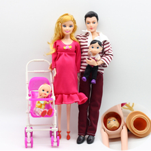 4Pcs/Set Happy Family Dolls Pregnant Babyborn Ken Prince & Wife Babyborn Stroller For Dolls Doll Child Toys Carriages For Dolls