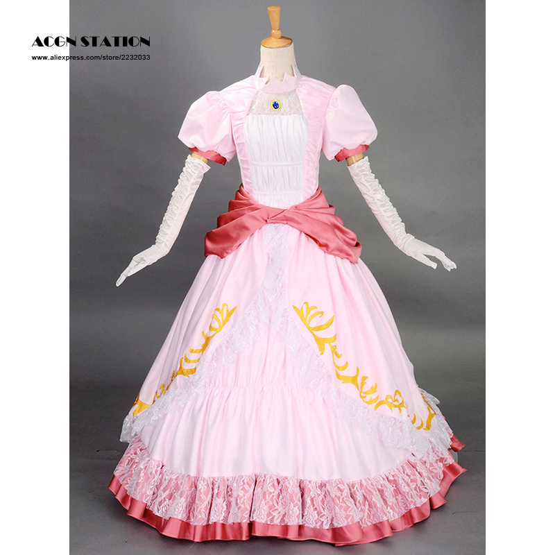 2016 Free Shipping Top Sale Fashionable Pink Princess Peach Super Mario Bros Adult Cosplay Costume Set For Halloween Christmas