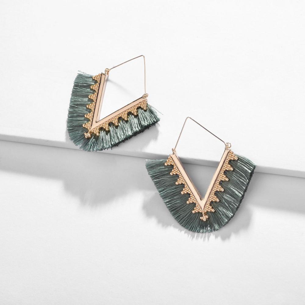 QTWINDY Bohemia Tassel Earrings For Women Vintage Golden Hollow Statement Jewelry Fashion Colorful Charm Earrings Female in Drop Earrings from Jewelry Accessories
