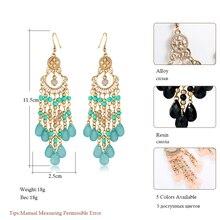 Bohemian Resin Beads Water Drop Fashion Long Earrings for Women